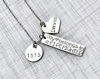 My Heart Belongs to a Firefighter Wife Necklace Firefighter Wife Necklace Handstamped Jewelry Custom Necklace Heart necklace