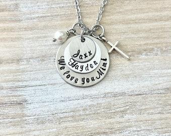 Mimi Necklace Grandchild Necklace Personalized Necklace Personalized Jewelry Handstamped Necklace Gift for Grandma Handstamped Jewelry
