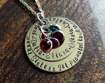 Great Sisters Get Promoted to Aunt Aunt Necklace Auntie Jewelry Personalized Jewelry Handstamped Jewelry Name Necklace Auntie Necklace