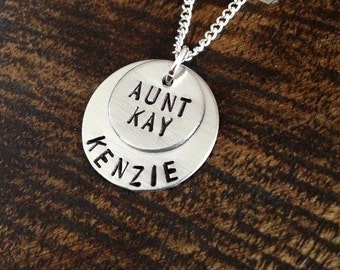 Aunt Necklace Aunt Jewelry Personalized Jewelry Handstamped Jewelry Name Necklace Auntie Necklace Auntie Jewelry Gift for Aunt Sister Gift