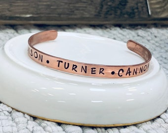 Personalized Name Cuff Bracelet Name Bracelets Custom Bracelet Kids Name Cuff Bracelet Copper Name Bangle Grandma Jewelry Gift for Mom