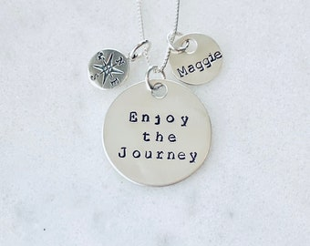 Compass necklace grad gift graduation gift travel necklace wanderlust enjoy the journey promotion new job grad school inspirational gift