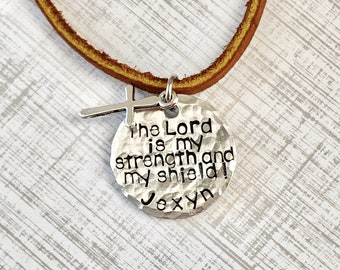 Boys Leather Necklace Boys Jewelry Cross Necklace Toddler Jewelry Boy Birthday Gift Son Easter Gift Silver Lord is my Strength Necklace