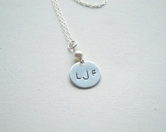 Monogram Necklace Initial Necklace Handstamped Necklace Monogram Jewelry Personalized Jewelry Handstamped Monogram