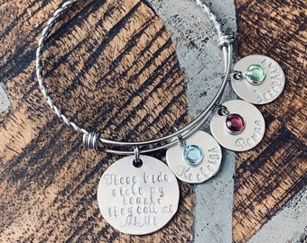 These kids stole my heart Silver Mom bangle Nana bangle Grandma bracelet Handstamped Jewelry Adjustable Bangle Name Bracelet Gift for Mom