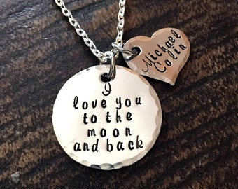 Mom Necklace Mothers Day Gift Love you to the Moon Necklace Handstamped Necklace Personalize Jewelry Quote Necklace Grandma Necklace