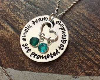 Great Moms Get Promoted to Grandma Grandma Necklace Grandma Jewelry Personalized Jewelry Handstamped Jewelry Name Necklace Mimi Necklace