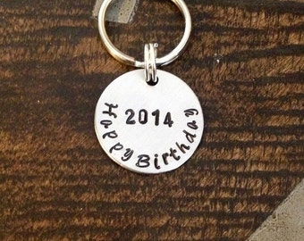 Happy Birthday Keychain Handstamped Keychain Personalized Keychain Birthday Gift  Aluminum Key Chain Custom Keychain Gift for Dad