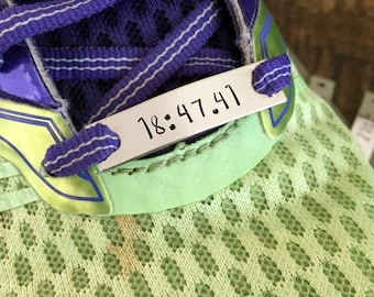 Shoelace Tag Handsamped Tag Runner Gift Gift for Runner Track Tag Running Time Personalized Shoetag Custom Shoetag Cross Country Gift