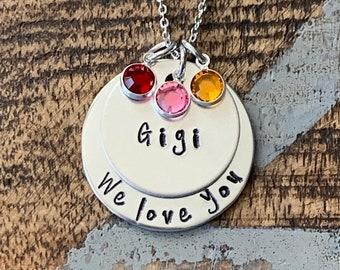 Gigi Necklace Grandchild Necklace Personalized Necklace Personalized Jewelry Handstamped Necklace Birthstone Necklace
