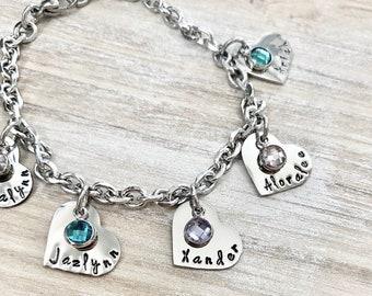 Personalized Heart Charm Bracelet Grandma Bracelet Grandchild Bracelet Handstamped Jewelry Mom Charm Bracelet Grandma Gift Mothers Day Gift
