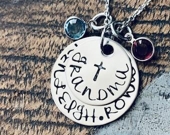 Grandma Necklace Cross Necklace Grandchild Necklace Personalized Necklace Personalized Jewelry Handstamped Necklace Birthstone Necklace