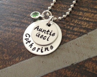 Aunt Necklace Aunt Jewelry Personalized Jewelry Handstamped Jewelry Name Necklace Auntie Necklace Auntie Jewelry