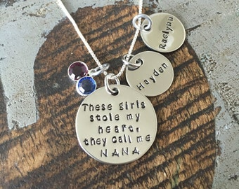 Nana Necklace There's these girls who stole my heart Handstamped Necklace Personalize Jewelry Mothers Day Gift Grandma Jewelry Custom