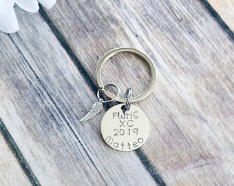 Cross Country Keychain Personalized Keychain Running Keychain Handstamped Gift Gift for Runner Running Time Gift for Track Star
