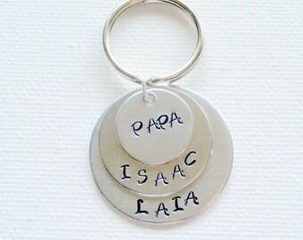 Dad Keychain Uncle Keychain Grandpa Keychain Handstamped Keychain Personalized Keychain Layered Keychain Gift Keychain