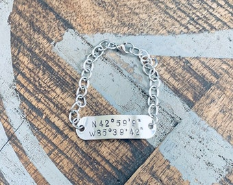 Coordinates bracelet Stainless Steel location bracelet latitude longitude bracelet long distance gift couple coordinates bracelet for men