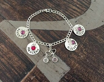 Personalized Charm Bracelet Grandma Bracelet Sterling Silver Bracelet Handstamped Jewelry Mom Charm Bracelet Grandma Gift Mothers Day Gift