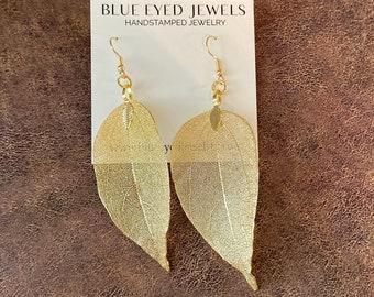 Real leaf earrings, Gold leaf earrings, Gold earrings dangle, Floral Bridal earrings, Boho jewelry, Natural Jewelry, Leaf jewelry