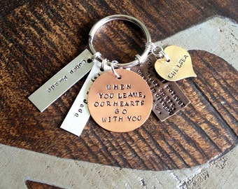 Custom Keychain When You Leave Our Hearts Go With You Dad Keychain Gift for Dad Mixed Metals Keychain Daddy Keychain Together Forever