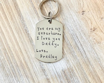 Super hero Dad Keychain Gift for New Dad  Love Daddy Keychain Handstamped Keychain Custom Keychain Dad Keychain Fathers Day Gift from Son