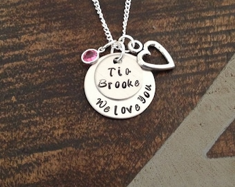Personalized Custom Jewelry We love you 'Tia' Hand Stamped Necklace Auntie Necklace Tia Necklace Tia Jewelry Love Handstamped Love Jewelry