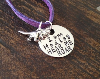Girls Necklace Girls Jewelry Dinosaur Necklace Toddler Jewelry Girl Birthday Gift Daughter Birthday Gift Hear Me Roar Necklace Handstamped