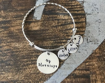 My Blessings Bangle Mom bangle Nana bangle Grandma bracelet Handstamped Jewelry Adjustable Bangle Name Bracelet Gift for Mom