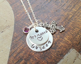 Grandma Necklace Grandchild Necklace Personalized Necklace Personalized Jewelry Handstamped Necklace