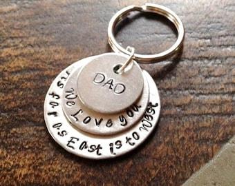 Dad Keychain Daddy Keychain Handstamped Keychain Personalized Keychain Layered Keychain Dad Quote Keychain