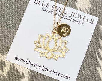 Om Necklace, Lotus Necklace, Gold Lotus Flower Necklace, Initial Necklace, Personalized Necklace, Personalized Custom Jewelry, Gift for Mom