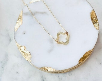 Gold Necklace Quatrefoil Necklace Dainty Gold Necklace Bridesmaid Necklace Bridesmaids Gifts gifts for her best friend gifts gold filled