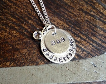 Monogram Necklace Silver Handstamped Necklace Initial Necklace Sorority Necklace Personalized Necklace Sister Jewelry Graduation Gift