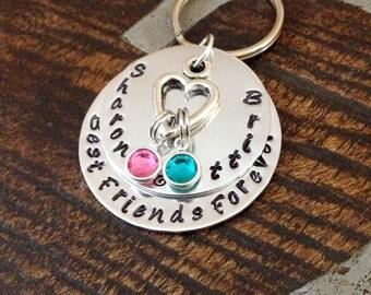 Best Friends Forever Best Friend Keychain Friend Keychain Personalized Keychain Handstamped Keychain Gift for Best Friend Friend Gift