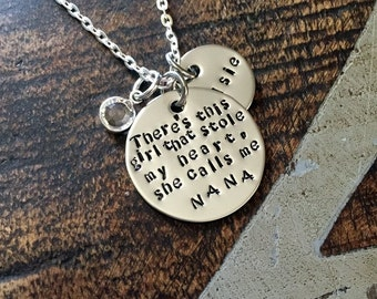 Nana Necklace Theres this girl who stole my heart Handstamped Necklace Personalize Jewelry Mothers Day Gift Grandma Jewelry Custom Necklace