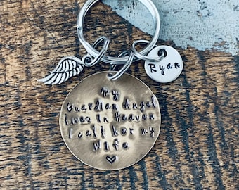 Wife Guardian Angel Keyring Guardian Angel Keychain Memory Keyring Memory Keychain Handstamped Personalised Keyring Personalized Keychain