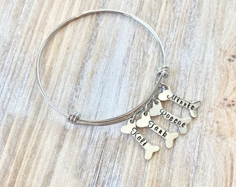 Pet Memorial Bracelet Loss of a Pet Bangle Personalized Hand Stamped Pet Jewelry Pet Loss Remembrance Dog Bone Dog Mom Gift