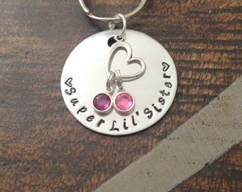 Super Lil Sister Keychain Handstamped Keychain Sisters By Chance Sister Gift Gift for Sister Personalized Keychain Heart Keychain Big Sister