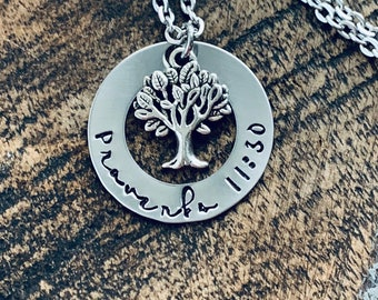 Proverbs 11:30 Necklace Christian necklace family tree jewelry Handstamped necklace Christening gift Baptism Jewelry