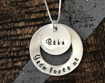 Gram Love Me Necklace Sterling Silver Washer Necklace Personalized Hand Stamped Jewelry Grandma Necklace Gift for Mom Mothers Day Jewelry