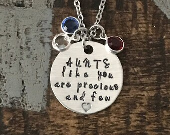 Aunts Like You Are Precious And Few Aunt Necklace Auntie Jewelry Personalized Jewelry Handstamped Jewelry Name Necklace Auntie Necklace
