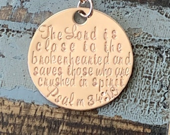 Rose Gold Necklace The Lord is Close to the Brokenhearted Psalm 34:18 Necklace Stamped Miscarriage Necklace Baby Memorial Necklace