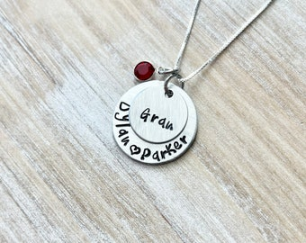 Gram Necklace Grandchild Necklace Personalized Necklace Personalized Jewelry Handstamped Necklace Birthstone Necklace