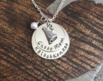 Cheer Mom Necklace Handstamped Necklace Megaphone Necklace Custom Jewelry Personalized Necklace Gift for Mom Cheerleader Gift Team Coach