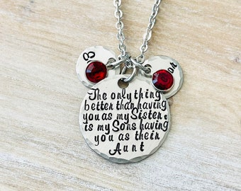 Aunt Quote Necklace Gift for Sister Aunt Necklace Auntie Jewelry Personalized Jewelry Handstamped Jewelry Name Necklace Auntie Necklace