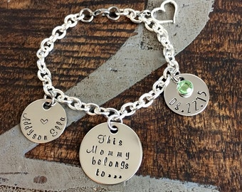 This Mommy belongs to Bracelet Mommy Gift Push Present New Mom Gift Handstamped Bracelet Mothers Day Gift Mom Jewelry Charm Bracelet