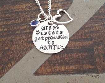 Great Sisters Get Promoted to Auntie Aunt Necklace Auntie Jewelry Personalized Jewelry Handstamped Jewelry Name Necklace Auntie Necklace