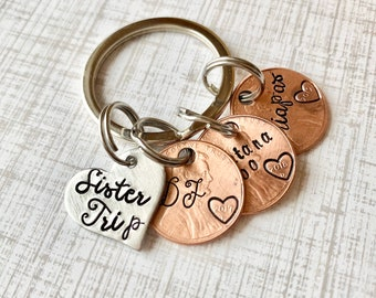 Sisters Keychain Gift for traveler, Wanderlust gift, Traveling holiday keepsake, Gap year gift, Backpacking, Travel gift for her