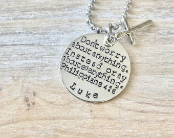Boys Necklace Boys Necklace Boys Jewelry Cross Necklace Toddler Jewelry Boy Birthday Gift Son Easter Gift Pray about everything