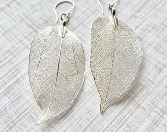 Real leaf earrings, Silver leaf earrings, Silver earrings dangle, Floral Bridal earrings, Boho jewelry, Natural Jewelry, Leaf jewelry